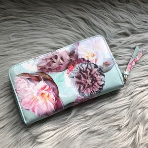 Indigo floral faux leather wallet